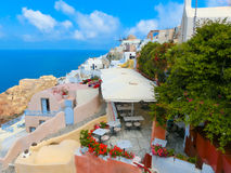 Traditional architecture of Oia village on Santorini island, Greece Stock Photos