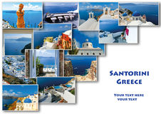 Traditional architecture of Oia village on Santorini island, Greece. Collage Stock Image