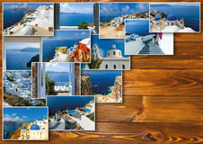 Traditional architecture of Oia village on Santorini island, Greece. Collage on woden table Royalty Free Stock Photography