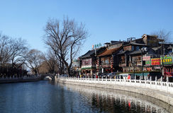 Traditional architecture on the promenade along the Houhai lake in Beijing Royalty Free Stock Photography