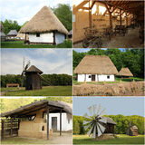 Traditional architecture  - Romania (collage). 6 pictures representing traditional buildings from Romania: houses, wind mills, stove, cart Royalty Free Stock Images