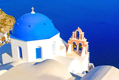 Traditional architecture on Santorini island Stock Photo