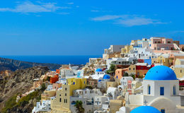 The traditional architecture of Santorini, sea view. Royalty Free Stock Image