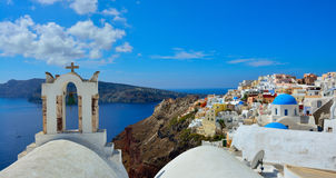 The traditional architecture of Santorini, sea view. Royalty Free Stock Photo