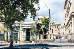 Traditional architecture of Sicily in Italy, historical street of Catania, facade of old buildings.  royalty free stock photos