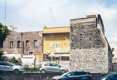 Traditional architecture of Sicily in Italy, historical street of Catania, facade of old buildings.  stock image