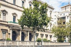 Traditional architecture of Sicily in Italy, historical street of Catania, facade of old buildings.  royalty free stock photo