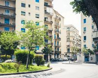 Traditional architecture of Sicily in Italy, street of Catania, facade of buildings.  stock photos