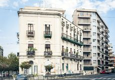 Traditional architecture of Sicily in Italy, street of Catania, facade of buildings.  royalty free stock photos