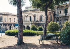 Traditional architecture of Sicily in Italy, typical street of Catania, facade of old buildings.  stock photography