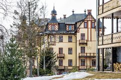 Traditional architecture in Stary Smokovec village, High Tatras. Slovak republic. Travel destination. Winter holiday Royalty Free Stock Photo