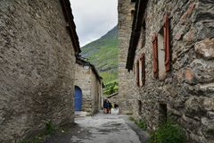 Bonneval sur arc, France. Traditional architecture with stone house in Bonneval-sur-Arc village, Savoie department of the Rhone Alpes, one of the most beautiful Royalty Free Stock Photo