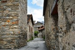 Bonneval sur arc, France. Traditional architecture with stone house in Bonneval-sur-Arc village, Savoie department of the Rhone Alpes, one of the most beautiful Royalty Free Stock Photography