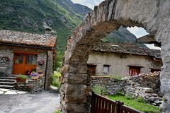 Bonneval sur arc, France. Traditional architecture with stone house in Bonneval-sur-Arc village, Savoie department of the Rhone Alpes, one of the most beautiful Royalty Free Stock Image