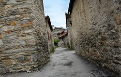 Bonneval sur arc, France. Traditional architecture with stone house in Bonneval-sur-Arc village, Savoie department of the Rhone Alpes, one of the most beautiful Stock Photography