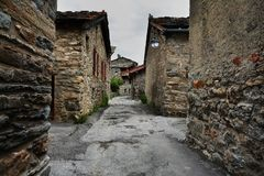 Bonneval sur arc, France. Traditional architecture with stone house in Bonneval-sur-Arc village, Savoie department of the Rhone Alpes, one of the most beautiful Stock Photos