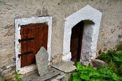 Bonneval sur arc, France. Traditional architecture with stone house in Bonneval-sur-Arc village, Savoie department of the Rhone Alpes, one of the most beautiful Royalty Free Stock Images