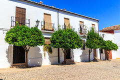 Traditional architecture on the streets of the old town of Ronda. Andalusia. Spain Stock Photos