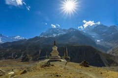 Traditional architecture stupa Manang Nepal royalty free stock images
