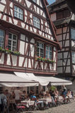 traditional architecture with terrace restaurant at little France quarter in Strasbourg Stock Photography