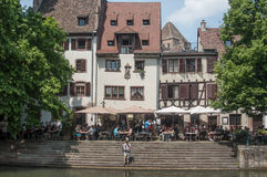 Traditional architecture with terrace restaurant at little France quarter in Strasbourg Royalty Free Stock Photo