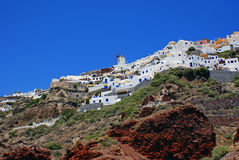Traditional architecture of Thira village Stock Photos
