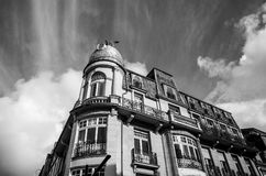 Traditional architecture of vintage European buildings in Luxembourg. Black-white photo. Royalty Free Stock Images