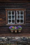 Traditional architecture of wooden houses in Røros, Norway. Old stock photo