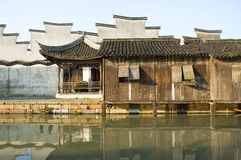 Traditional architecture in Wuzhen. Wuzhen is a historic scenic town in Zhejiang Province China.Chinese traditional architectural designs reflect the Fengshui Royalty Free Stock Image