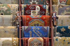 Traditional Armenian carpets. In rows Royalty Free Stock Photos