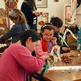 Traditional arts and crafts workshop for children and young handicapped peopl. PERNIK, BULGARIA – Januarry 29, 2016: Children and young handicapped people Royalty Free Stock Photos