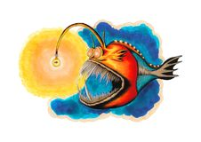 Colorful Anglerfish with Golden Fish inside Light Bulb. Traditional artwork created using ink and watercolors illustrating a colorful scary anglerfish hunting Royalty Free Stock Photos