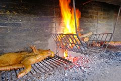 Traditional asado of a whole pork on a typical uruguayan grill with fireplace, Uruguay, South America. Traditional dish in Argentina, Paraguay, Chile and stock image