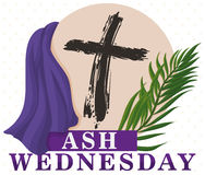 Traditional Ash Wednesday Elements to Commemorate this Holiday, Vector Illustration. Poster with traditional representative elements for Lent beginning in Ash Stock Images