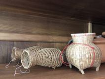 Traditional Asia fish trap, make from bamboo wood., Thailand. Traditional Asia fish trap, make from  bamboo wood., Thailand royalty free stock image