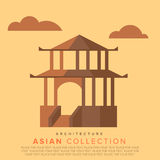 Traditional Asian architecture. Temple in the classic Asian style. Vector Flat illustrations Stock Photo