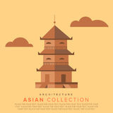 Traditional Asian architecture. Temple in the classic Asian style. Vector Flat illustrations Royalty Free Stock Images
