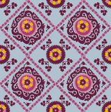 Traditional asian carpet embroidery Suzanne. Uzbek ethnic decorative floral motif for rug, fabric, tablecloth Stock Image