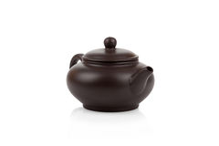 Traditional asian clay teapot isolated Royalty Free Stock Image