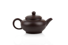 Traditional asian clay teapot isolated Royalty Free Stock Photos