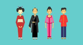 Traditional Asian Costumes Set People Wearing Kimono Chinese And Japanese Clothes. Flat Vector Illustration Royalty Free Stock Photo