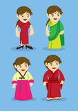 Traditional Asian Costumes for Women Vector Illustration Royalty Free Stock Photography