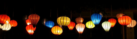 Traditional asian culorful lanterns on chinese market stock photos