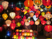 Traditional asian culorful lanterns on chinese market Stock Image