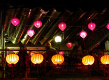 Traditional asian culorful lanterns at night chinese market Stock Images