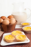Traditional asian dessert egg tarts sweet custard pie. Stock Photo