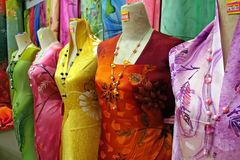 Traditional asian fabrics Stock Photos