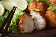 Traditional Asian fish balls with lime and salad macro Royalty Free Stock Images