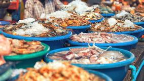 Traditional asian fish market Royalty Free Stock Images