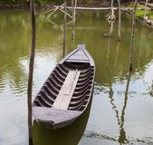 Traditional asian fishing boat in river, vietnam. Royalty Free Stock Image